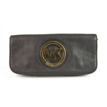 Michael by Michael Kors Black Leather Large Gold Tone Logo Clutch Bag Ha... - $89.10