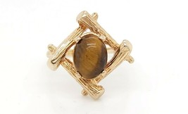 18k Yellow Gold Bamboo Design Ring With Tiger Eye Stone - $299.20