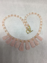 Pink Rose Quartz Fan Chakra Necklace - $30.00