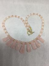 Pink Rose Quartz Fan Chakra Necklace - $30.00