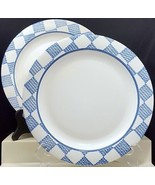 "Pfaltzgraff Hopscotch Dinner Plates 10-3/8"" Set of 2 White Blue Checks N... - $22.77"