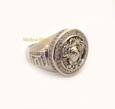 Versace 18K White Gold Medusa Stainless Steel R... - $55.00