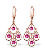 2.4 Carat 14K Solid Rose Gold Pink Topaz Tiered Earrings - $335.57