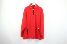 Vintage 90s Tommy Hilfiger Mens Medium Flag Logo Half Zip Fleece Sweater... - $44.50