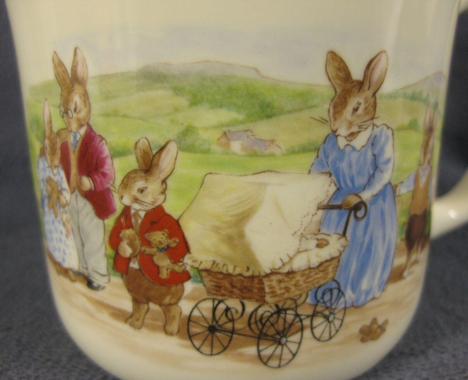 Royal Doulton Bunnykins Hug A Mug FAMILY WITH PRAM 1 Handled Bone China England image 2