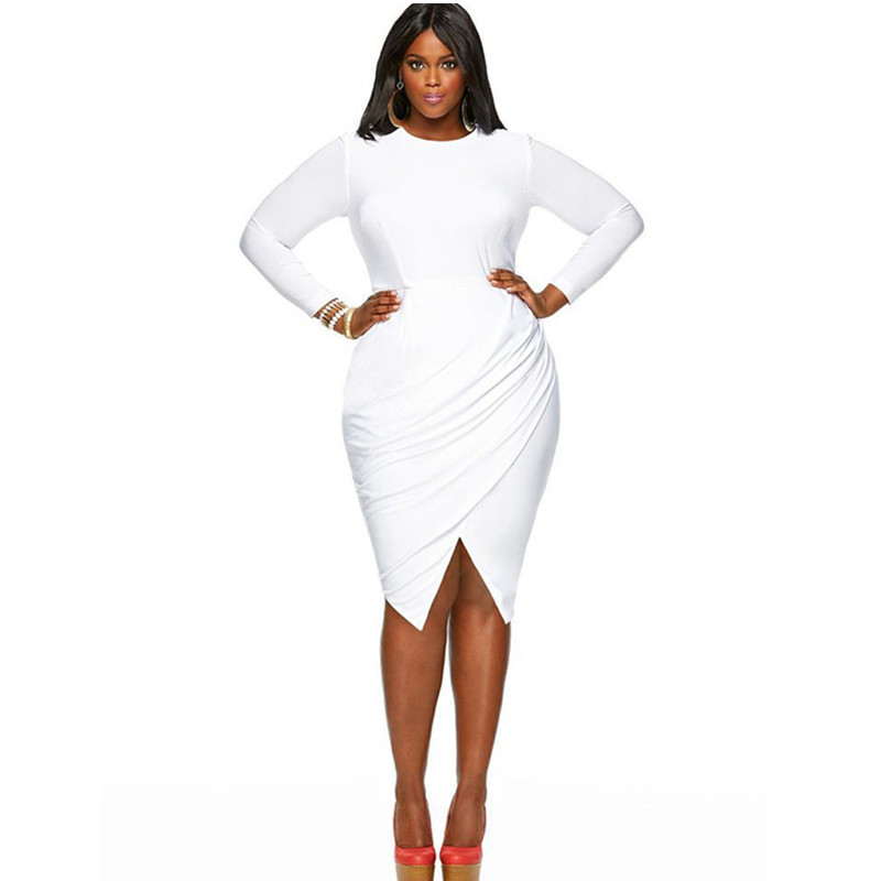 Womens Plus Size Long Sleeves Asymmetrical White Sheath Knee
