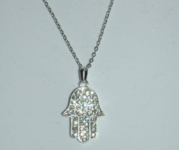 Hamsa Clear Crystals Silver Tone Rhodium Pendant & Necklace Judaica Kabbalah image 2