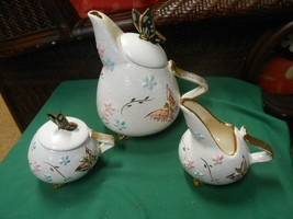 Beautiful Butterfly Design  HULL Art Pottery TEA SET...Tea Pot, Sugar & ... - $114.43