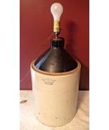 HUGE Antique Robinson Ransbottom #5 Five Gallon Stoneware Jug Lamp *Beau... - $179.95