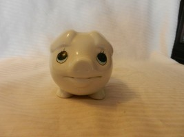 Small White Ceramic Smiling Pig Piggy Bank With Blue Eyes - $39.60