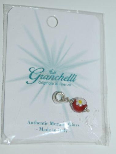 Granchelli Originale Di Firenze Authentic Murano Glass Red White Flower Charm