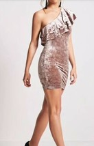 Forever 21 Flounce One Shoulder Crushed Velvet Mini Dress Taupe Cocoa L NEW - $16.82