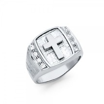 Men's Sterling Silver Cross & Cubic Zirconia Ring - $84.99
