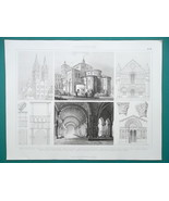 ARCHITECTURE French Cathedrals Caen Arles Poitiers - 1870 Engraving Print - $16.20