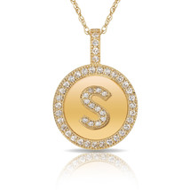 """14K Solid Yellow Gold Round Circle Initial """"S"""" Letter Charm Pendant & Ne... - $30.99+"""
