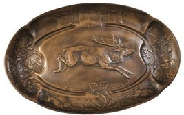 Tray Leaping Stag Deer Relief Rustic Oval New Hand-Cast - $279.00