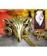 Ram head pendant chain necklace russian multilana museum goat aries thumbtall