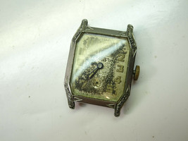 Best VINTAGE 6 jewel art deco square flip open case watch for repair parts  - $120.94