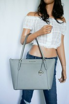 NWT MICHAEL KORS CIARA LARGE TOP ZIP TOTE SHOULDER LEATHER BAG PEARL GREY - $98.88