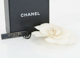 Authentic CHANEL White Fabric Camellia Flower Design Brooch Pin #35399 - $195.00