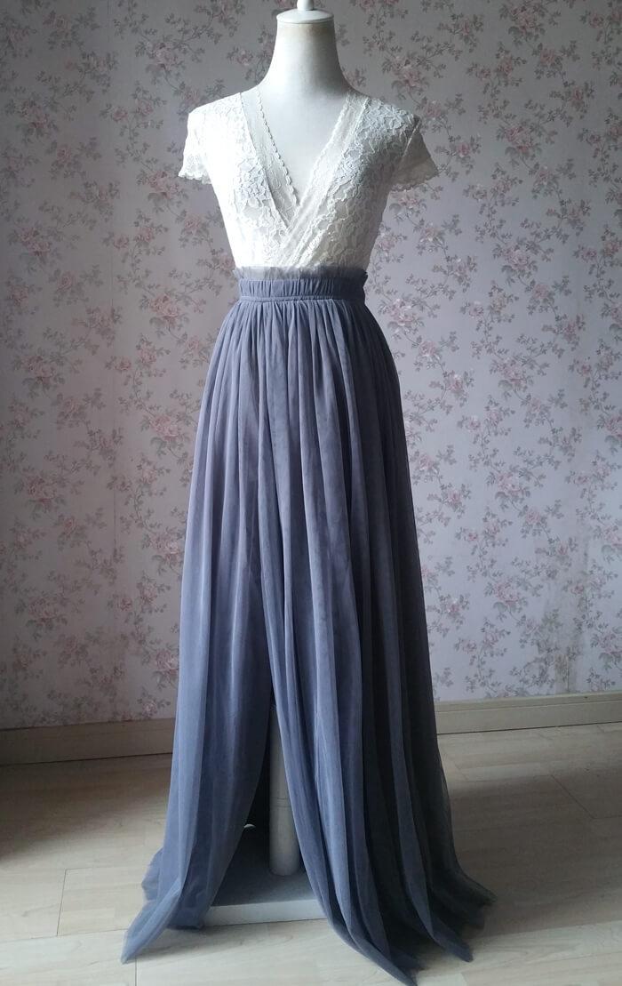 Slit tulle skirt 03 gray