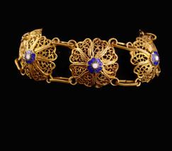 Antique Chinese enamel Bracelet - vintage gold heart locket - fob charm  - $225.00