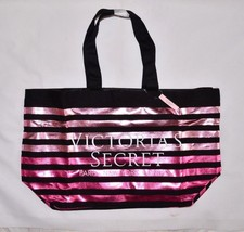 Victoria's Secret Tote Beach Bag Vacation Purse New Shopper Weekender Black Pink - $37.19