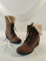 UGG Zea Brown Leather Shearling Lined Lace Up Wedge Combat Boots fold size 8 - $42.08
