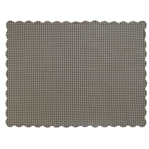 BLACK CHECK Scalloped Table Cloth - 60x80 - Raven and Khaki  -VHC Brands