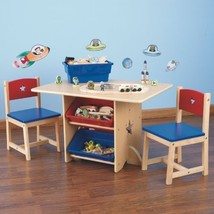 NEW KidKraft Blue Red Star Themed Kids Natural Wooden Table 2 Chair Set ... - $163.99