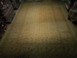 New Vintage Look Perfect Chobi Hand-Knotted 12x18 Beige Oushak Wool Rug image 4