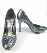 Women's GIANNI BINI Silver Metallic Peep Toe Pump Heels Metallic 6.5M Pl... - $27.54