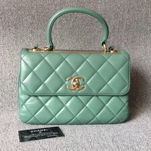AUTHENTIC CHANEL GREEN QUILTED LAMBSKIN TRENDY CC 2 WAY HANDLE FLAP BAG GHW