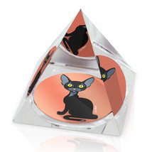 "Black Cartoon Cat Illustrated Animal Art 2"" Crystal Pyramid Paperweight - $15.99"
