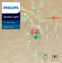 Philips 30 Christmas LED Green Red Dewdrop Battery Operated String Fairy Lights