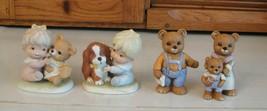 HOMCO Figurines Bear Family 1450 + Kids w Dog & Teddy 1424 Lot 4 Porcelain - $12.86
