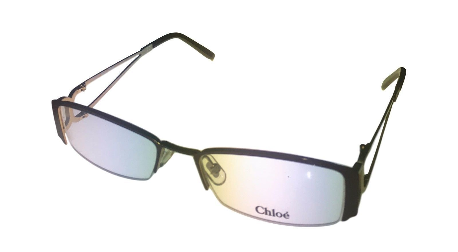 Chloe Ophthalmic Frame Black Silver Bottom Rimless  Rectangle Metal CL1209 1