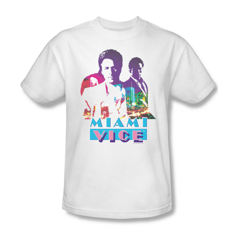 Miami Vice T-shirt Free Shipping 1980s retro TV show white cotton tee NBC119