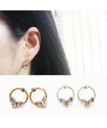 Open Circle Round Stud Earrings Made With Swarovski Stone 925 Silver E172 - $18.99