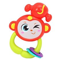 2 Pcs Lovely Cartoon Monkey Baby Plastic Rattles Hand Bell Baby Toys
