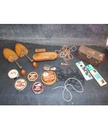 Old Vtg Lot SHOE ACCESSORIES JUNK DRAWER Wood Form Laces Brishes KIWI ES... - $29.69
