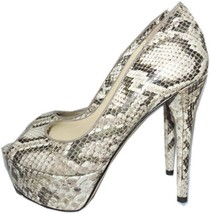 B Brian Atwood Natural Snake-Print Pumps Leather Platform Shoes 6.5 Slin... - $99.00