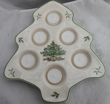 Spode Christmas Tree Votive 6 Tealight Holder Shaped Holly Condiments - $16.82