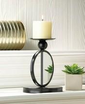 Modern Black Single Circle Mirrored Pillar Candle Holder Stand - $27.45