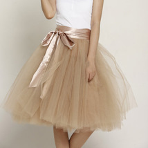 White Pink Tutu Tulle Skirt Puffy 4 Layered Party Full Circle Tulle Skirt Knee  image 14