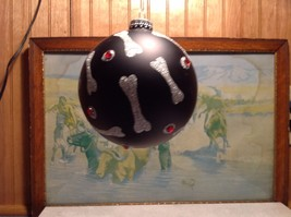 NEW Black Glass Ornament w Silver Dog Bones and Red Crystals image 2