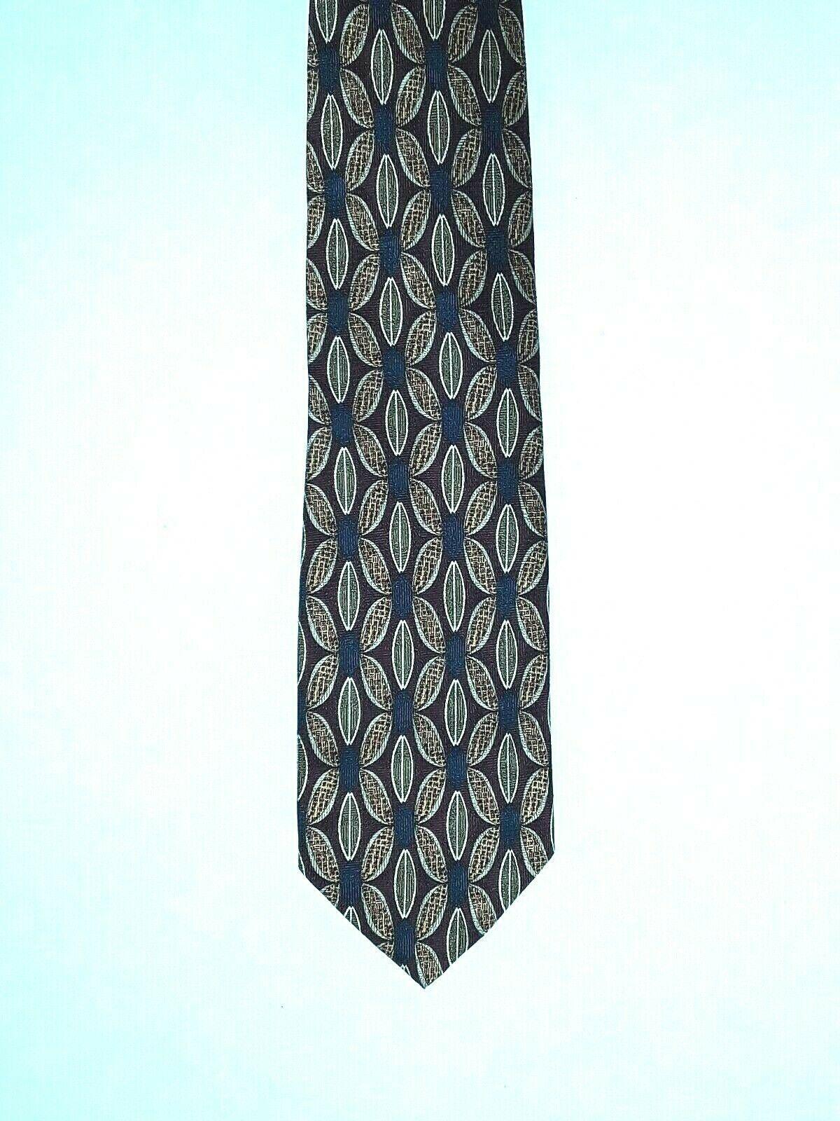 "Louis Roth Men's Tie Necktie 100% Silk Gold Black Burgundy Geometric 59"" x 4"" image 7"