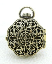 Lady Remington Gold Tone Filigree Openwork Locket Necklace Pendant - $13.86