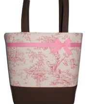 Brown Hounds Tooth And Pink Large Diaper Bag, Pink Brown Diaper Bag Large - $63.99
