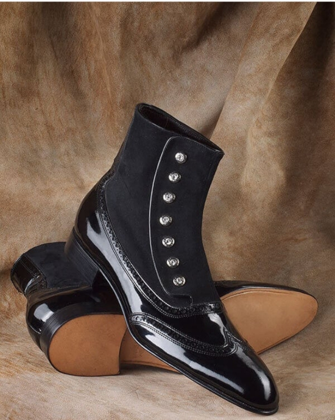 Handmade Men's Black Wing Tip High Ankle Leather And Suede Buttons Boots